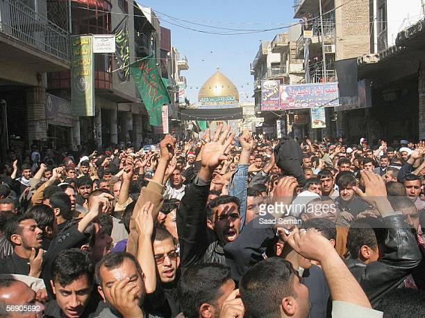 Angry Iraqis protest in front of the house of Iraqs powerful Shiite cleric Ali alSistani over the bombing of a Shiite holy shrine on February 22 2006...
