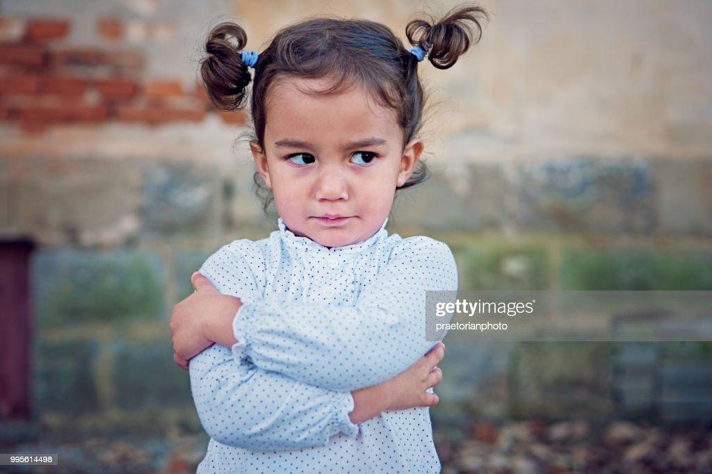 Angry little girl : Stock Photo