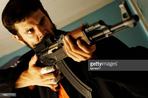 Angry Man Holding Semi-Automatic Rifle