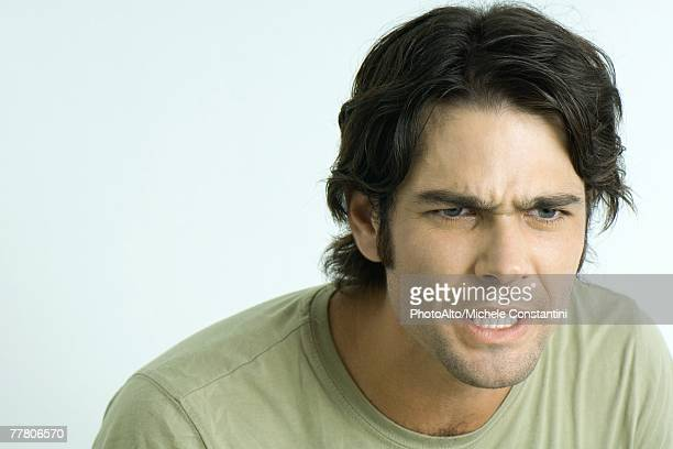 angry man, looking away, portrait - sideburn stock pictures, royalty-free photos & images