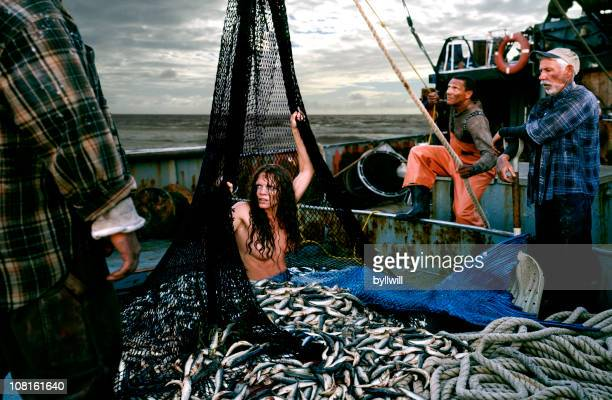 Angry Mermaid Caught in Fishing Boat Net