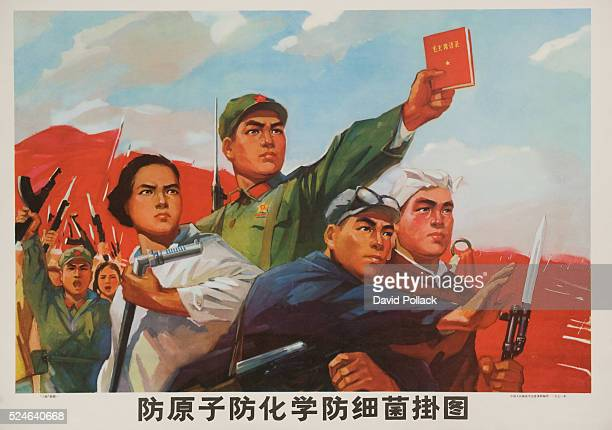 Angry mob protests atomic chemical and biological weapons with Mao's Little Red Book Poster from 1971