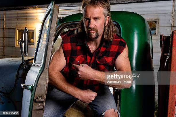 angry mullet man - redneck stock photos and pictures