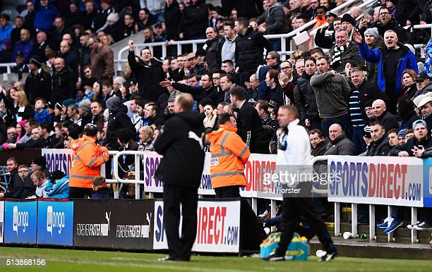 Angry Newcastle United supporters shout at manager Steve McClaren during the Barclays Premier League match between Newcastle United and AFC...