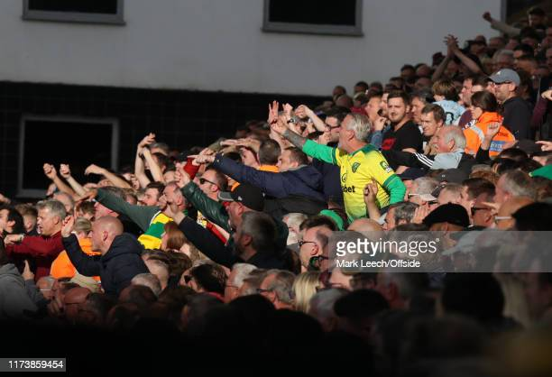 angry Norwich supporters during the Premier League match between Norwich City and Aston Villa at Carrow Road on October 5 2019 in Norwich United...