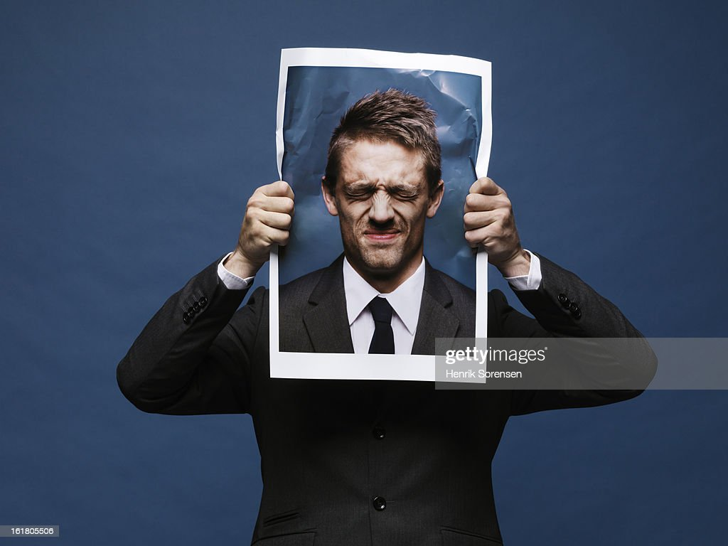 Angry paper man : Stock Photo