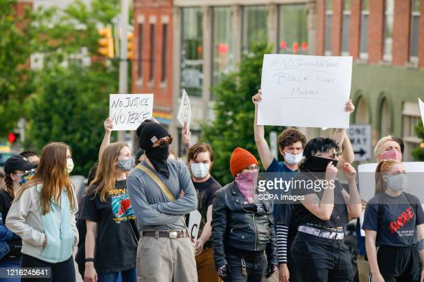 Angry protesters during the George Floyd killing protests. Protesters angry about the killing of George Floyd by police in Minneapolis, Minnesota...