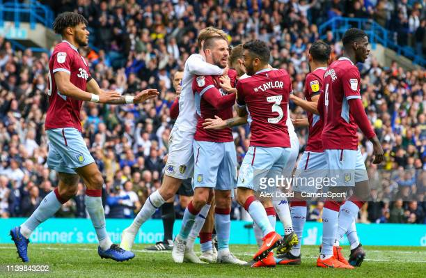 Angry scenes between both sets of players after Mateusz Klich scored the opening goal during the Sky Bet Championship match between Leeds United and...