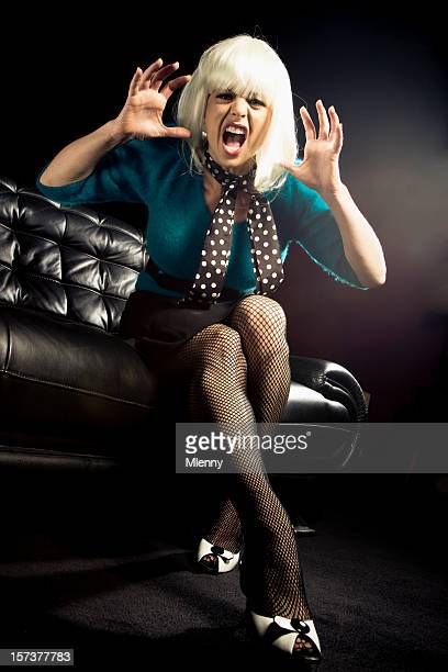 angry screaming woman - legs and short skirt sitting down stock pictures, royalty-free photos & images