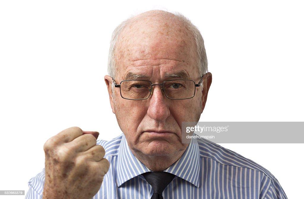 angry senior man : Stock Photo