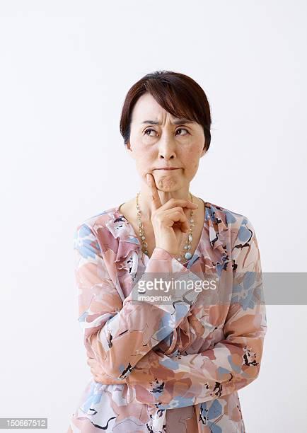 Angry senior woman