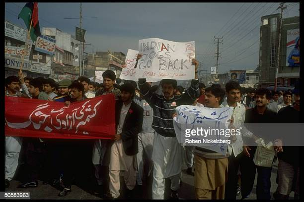 Angry students holding signs at ProKashmiri independence antiIndian demo