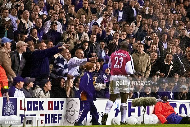 Angry Tottenham fans barrack their former player Sol Campbell on his first return to the club after his controversial move to North London rivals...