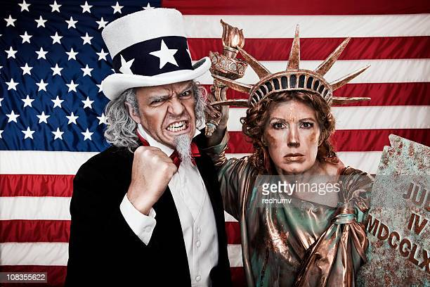 Angry Uncle Sam and Lady Liberty