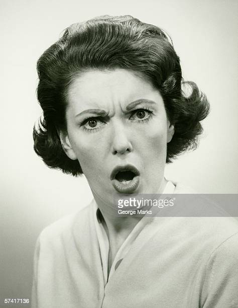 Angry woman, (B&W), (Portrait)