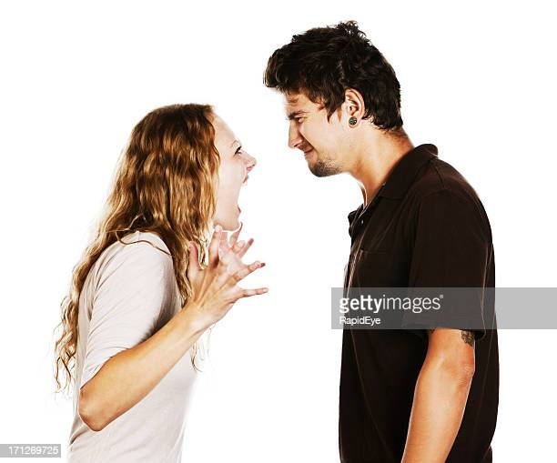Angry young couple arguing