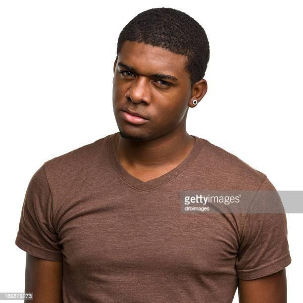 Angry Young Man Staring at Camera