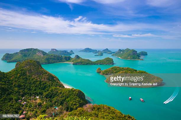 angthong islands from public photographic viewpoint - ko samui stock photos and pictures