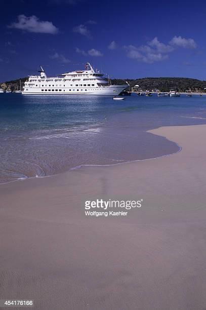 Anguilla Cruise Ship Yorktown Clipper Alongside Dock White Sand Beach Foreground