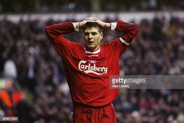 Anguish for Steven Gerrard of Liverpool during the FA Barclaycard Premiership match between Liverpool and Everton at Anfield on January 31 2004 in...