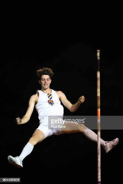 Angus Armstrong competes in the men's pole vault during the Jandakot Airport Perth Track Classic at WA Athletics Stadium on January 13 2018 in Perth...
