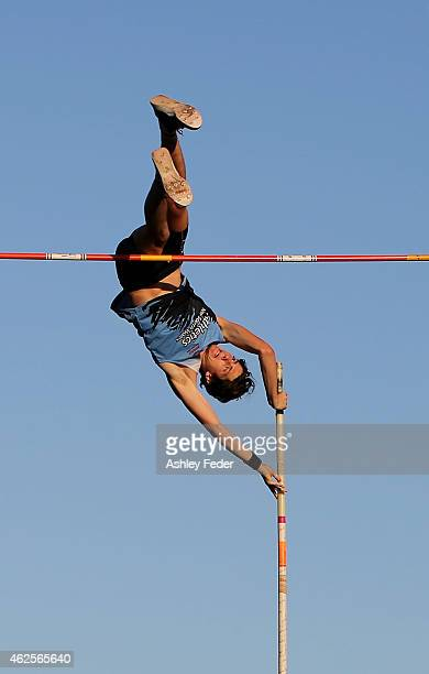 Angus Armstrong of NSW TTP competes in the pole vault during the 2015 Hunter Track Classic on January 31 2015 in Newcastle Australia