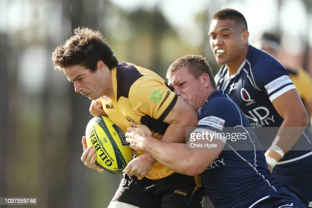 Angus Blyth of Country takes the line out during the round four NRC match between Queensland Country and Western Force at Bond University on...