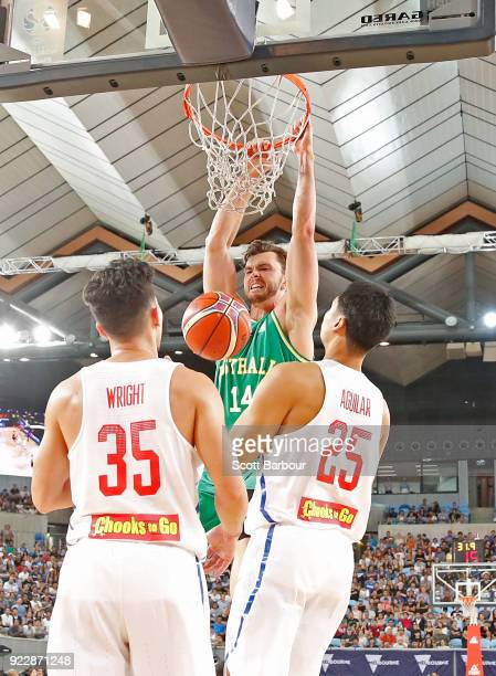 Angus Brandt of the Boomers dunks the ball during the FIBA World Cup Qualifier match between the Australian Boomers and the Philippines at Margaret...
