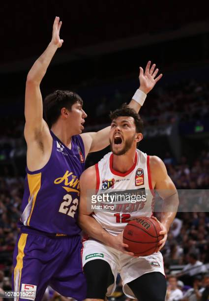 Angus Brandt of the Wildcats drives to the basket under pressure from Dane Pineau of the Kings during the round eight NBL match between the Sydney...