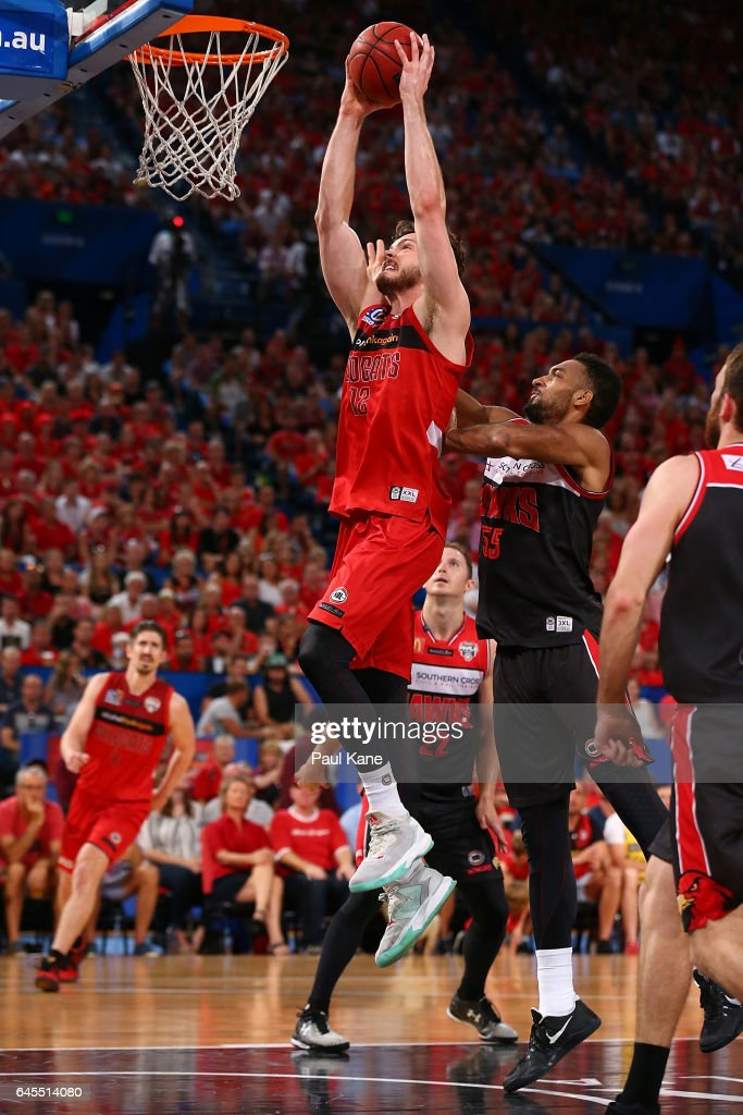 Angus Brandt of the Wildcats sets to dunk the ball during game one of the NBL Grand Final series between the Perth Wildcats and the Illawarra Hawks at Perth Arena on February 26, 2017 in Perth, Australia.