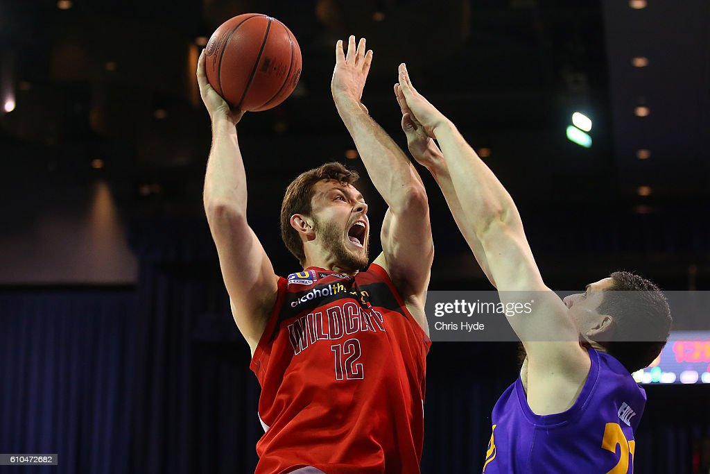 Angus Brandt of the Wildcats shoots during the Australian Basketball Challenge match between Sydney Kings and Perth Wildcats at Brisbane Convention and Exhibition Centreon September 26, 2016 in Brisbane, Australia.