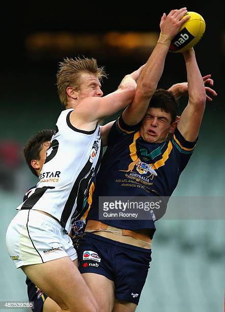 Angus Brayshaw of Australia U18 marks during the AFL match between Australia U18 and the Collingwood Magpies VFL team at Melbourne Cricket Ground on...
