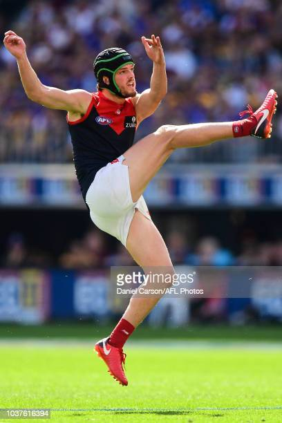 Angus Brayshaw of the Demons kicks on goal during the 2018 AFL Second Preliminary Final match between the West Coast Eagles and the Melbourne Demons...