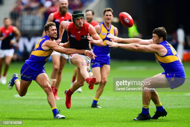 Angus Brayshaw of the Demons kicks the ball during the 2018 AFL Second Preliminary Final match between the West Coast Eagles and the Melbourne Demons...