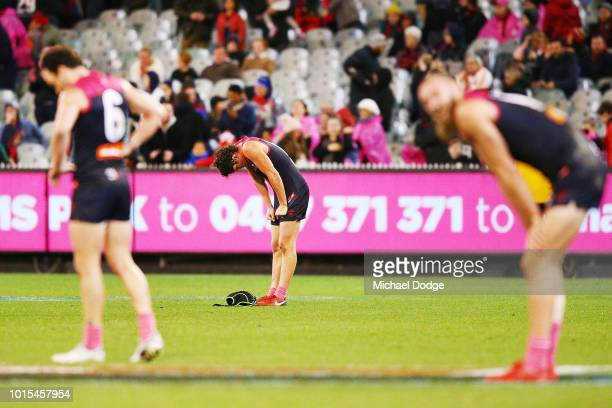Angus Brayshaw of the Demons looks dejected after defeat during the round 21 AFL match between the Melbourne Demons and the Sydney Swans at Melbourne...
