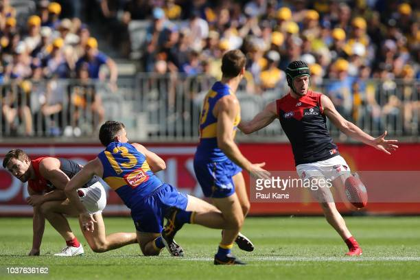 Angus Brayshaw of the Demons passes the ball during the AFL Preliminary Final match between the West Coast Eagles and the Melbourne Demons on...