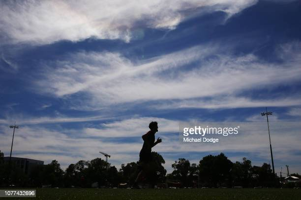 Angus Brayshaw of the Demons runs a lap during a Melbourne Demons AFL training session at Gosch's Paddock on December 05 2018 in Melbourne Australia
