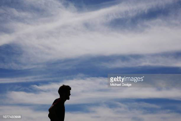 Angus Brayshaw of the Demons walks a lap during a Melbourne Demons AFL training session at Gosch's Paddock on December 05 2018 in Melbourne Australia