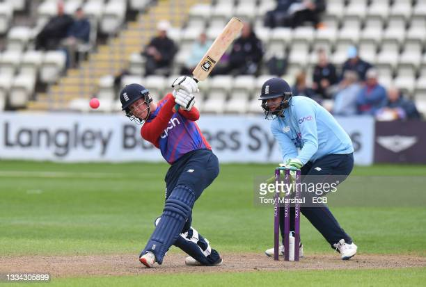 Angus Brown of England bats during the England Disability T20 match at New Road on August 08, 2021 in Worcester, England.