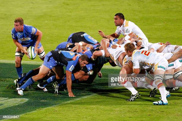 Angus Cotterell of the Force passes the ball during the round six Super Rugby match between the Force and the Chiefs at nib Stadium on March 22 2014...