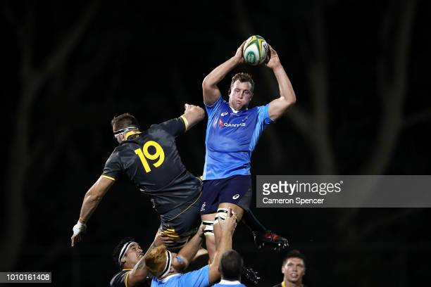 Angus Cottrell of the Australian Super Selection takes a lineout ball during the Wallabies Internal trial match between Cheika's Choice and the...