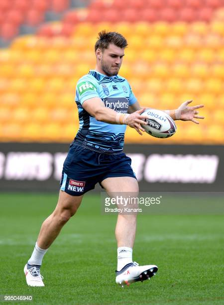 Angus Crichton kicks the ball during the New South Wales Blues State of Origin Captain's Run at Suncorp Stadium on July 10 2018 in Brisbane Australia