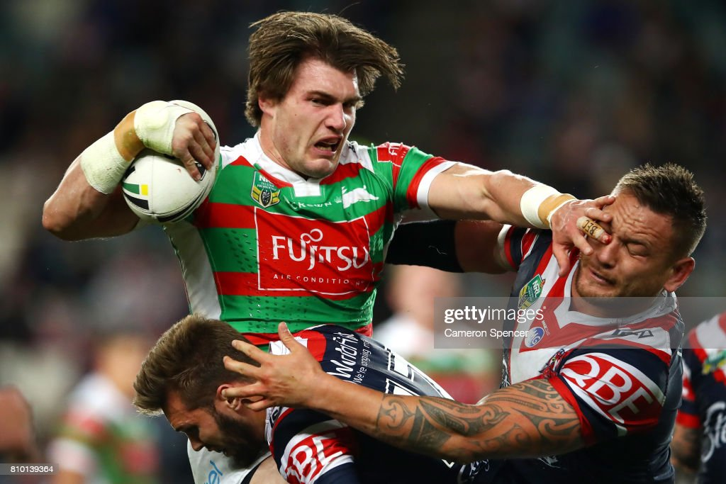 Angus Crichton of the Rabbitohs is tackled during the round 18 NRL match between the Sydney Roosters and the South Sydney Rabbitohs at Allianz Stadium on July 7, 2017 in Sydney, Australia.