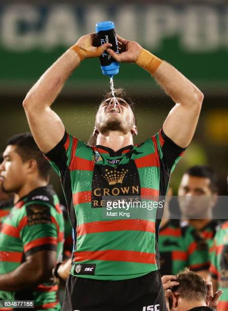 Angus Crichton of the Rabbitohs takes on water at quarter time during the NRL trial match between the Manly Sea Eagles and the South Sydney Rabbitohs...