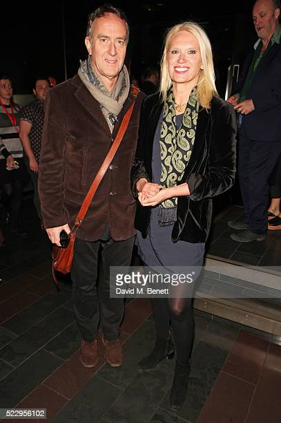 Angus Deayton and Anneka Rice attend the press night after party for The Comedy About A Bank Robbery at Mint Leaf on April 21 2016 in London England