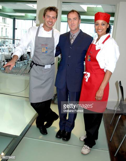 Angus Deayton Ashley Taylor Dawson and Tupele Dorgu battle it out to prepare a three course meal during a charity cookoff in aid of The New...