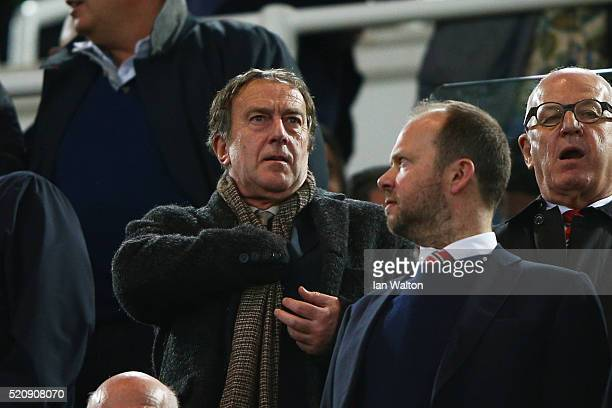 Angus Deayton attends the Emirates FA Cup sixth round replay between West Ham United and Manchester United at the Boleyn Ground on April 13 2016 in...