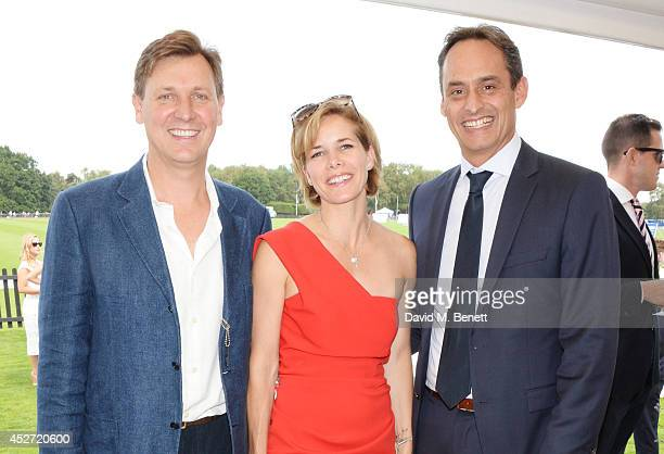 Angus Forbes Darcey Bussell and Andre Konsbruck Director of Audi UK attend Audi International at Guards Polo Club near Windsor to support England as...
