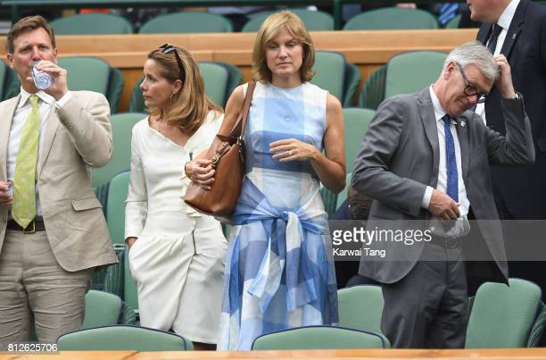 Angus Forbes, Darcey Bussell, Fiona Bruce and Nigel Sharrocks attend day eight of the Wimbledon Tennis Championships at the All England Lawn Tennis...