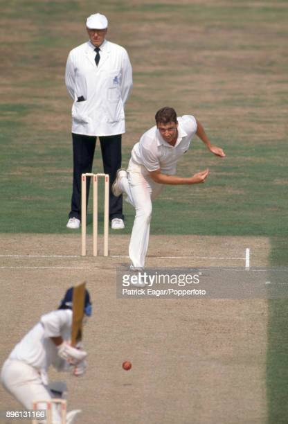 Angus Fraser bowling for England during the 3rd Test match between England and India at The Oval London 23rd August 1990 The umpire is Nigel Plews